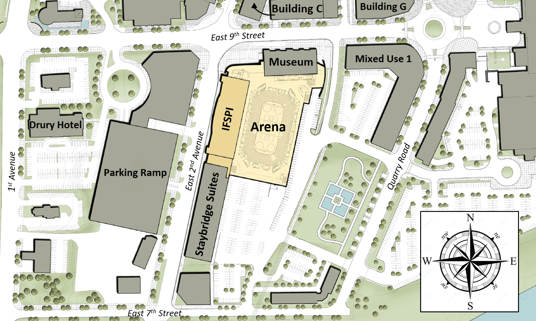 Map of proposed Iowa River Landing developments