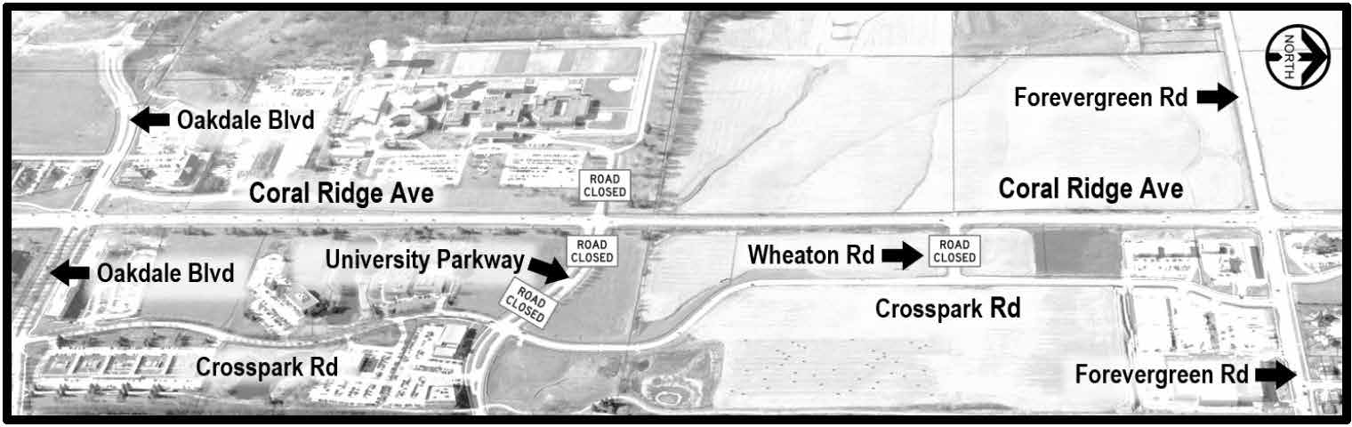 Coral Ridge Ave access closed at University Pkwy and at Wheaton Rd.