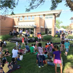 Community meal on library lawn
